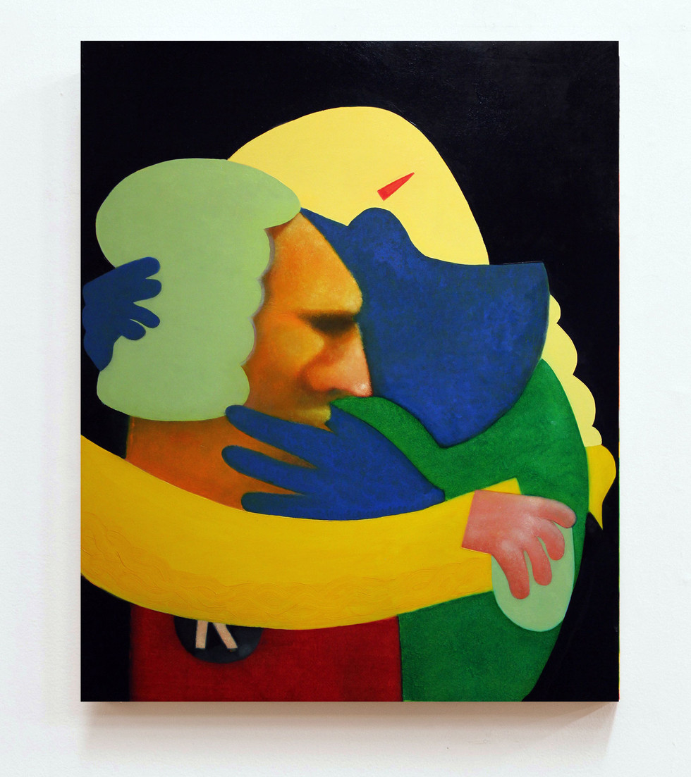 The kiss, oil on panel, 30 x 24 inches, 2018