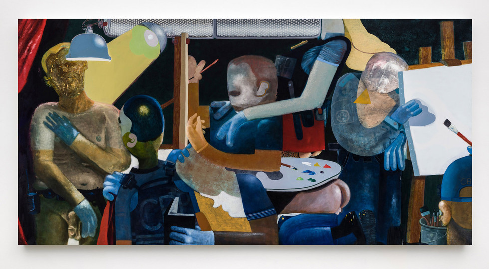 The artist's studio, oil on canvas, 74 x 148 inches, 2017