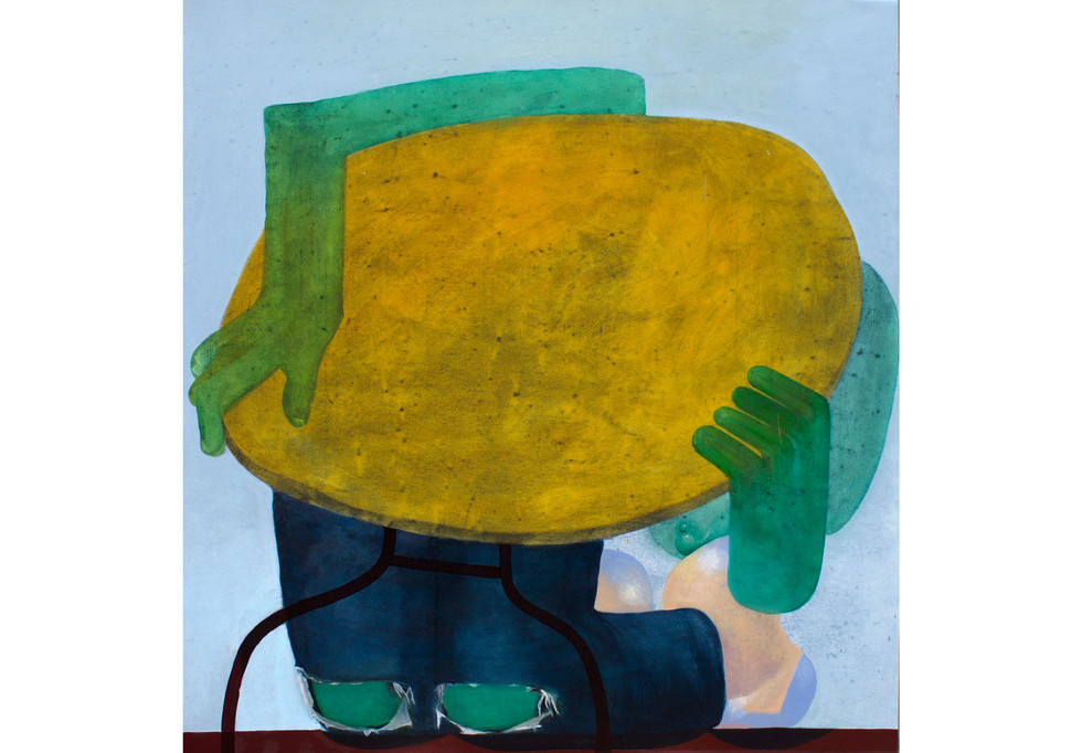 Under the table man, oil on canvas, 66 x 62 inches, 2017