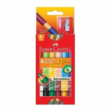 Giz de Cera Faber Castell EcoGiz Madeira Bicolor 12 Cores