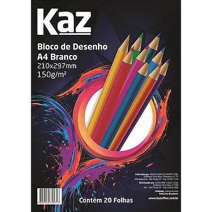 BLOCO DE PAPEL DESENHO A4 BRANCO 150g KAZ