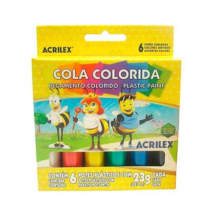COLA COLORIDA 6 CORES ACRILEX