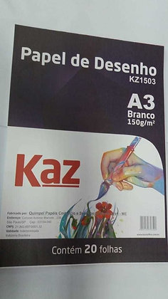 BLOCO DE PAPEL DESENHO A3 BRANCO 150g KAZ