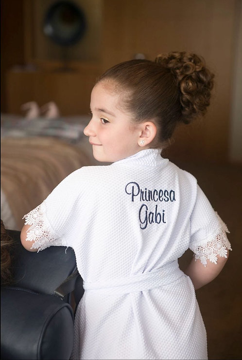 Robe Piquê Infantil com Guipir