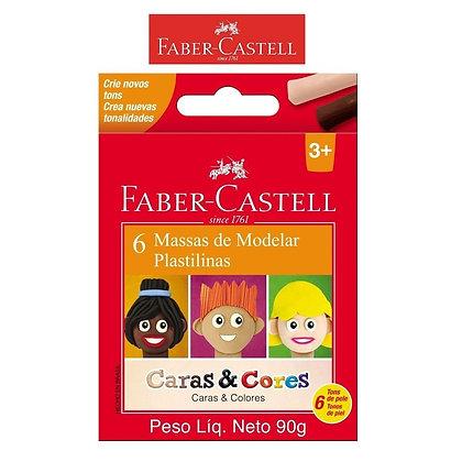 MASSA DE MODELAR - CARAS E CORES 6 TONS DE PELE FABER CASTELL