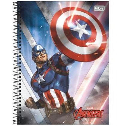 Caderno Avengers Capitão América Espiral 80f Tilibra