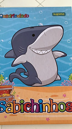 Caderno Quadriculado Sabichinhos Kajoma Shark 96fls Brochura