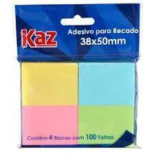 ADESIVO PARA RECADO 38x50 C/ 4 PEQUENO UNID. COLORIDO KAZ