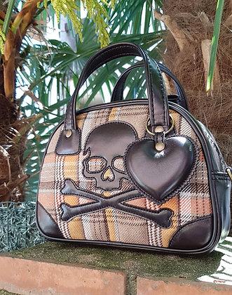 Sac SkinAss MINI MISS en cuir et tissus / vintage chocolat  leather ba