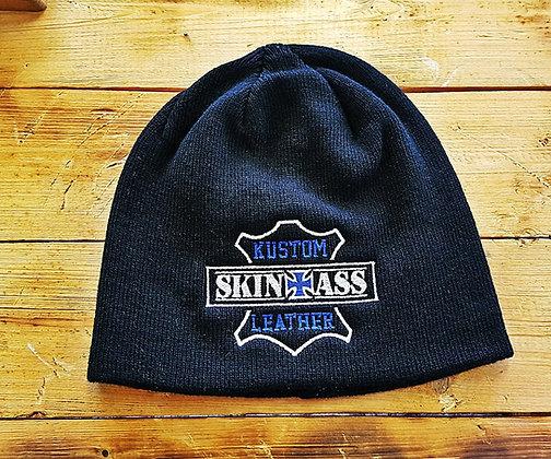 Bonnet noir brodé W&B / SkinAss black W&B knit cap