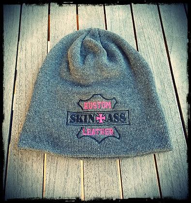 Bonnet gris brodé P&B / SkinAss grey P&B knit cap