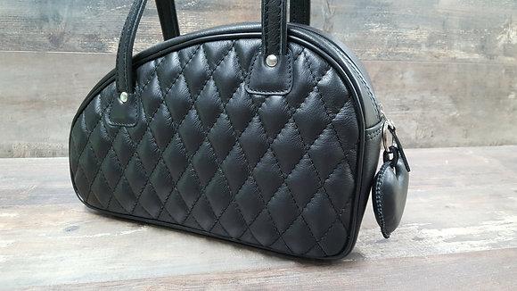 Sac SkinAss cuir noir matelassé / black quilted leather bag