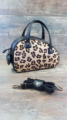 Sac SkinAss cuir léopard & noir / léopard  leathe