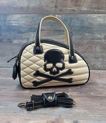 Sac SkinAss cuir noir et beige skull / beige  and black leathe