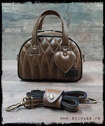 Sac SkinAss MINI MISS en cuir vintage marron foncé / vintage brown leather bag