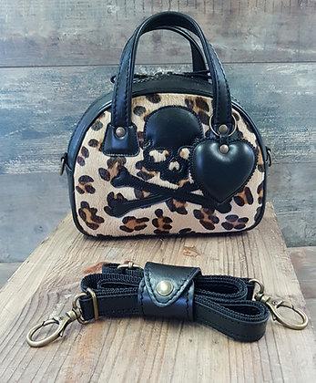 SkinAss MINI MISS cuir léopard tête de mort noire