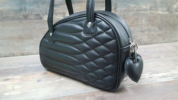 Sac SkinAss cuir noir matelassé / black quilted leather bag