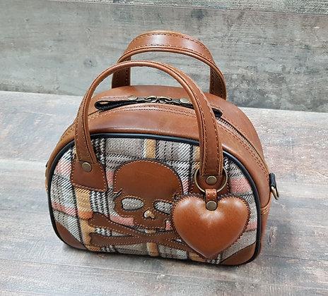 Sac SkinAss MINI MISS en cuir et tissus / vintage brown leather ba