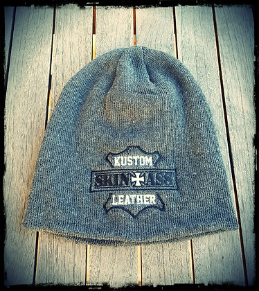 Bonnet gris brodé W&B / SkinAss grey W&B knit cap