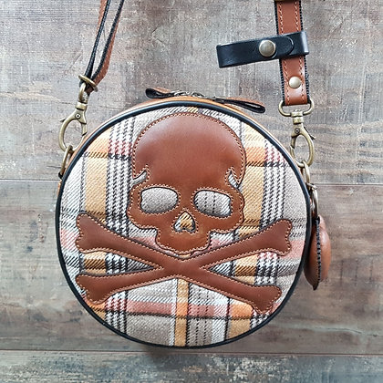 Sac SkinAss BABY BALL en cuir marron motif skull / brown leather BABYBALL bag