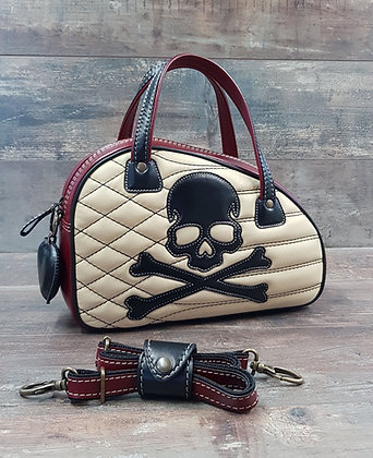 Sac SkinAss cuir noir et bordeaux skull / burgundy and black leathe