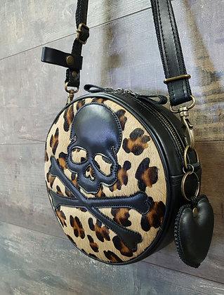 Sac SkinAss BABY BALL léopard  motif skull / léopard  leather BABYBA
