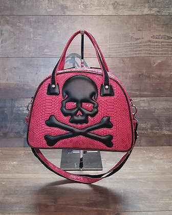 Sac SkinAss rose/skull / pink handbag
