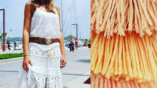 Falda illetes crochet blanca