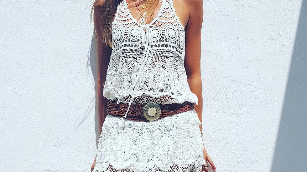 Vestido crochet sin mangas playa