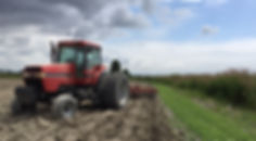 Stormy tractor doing field wor.