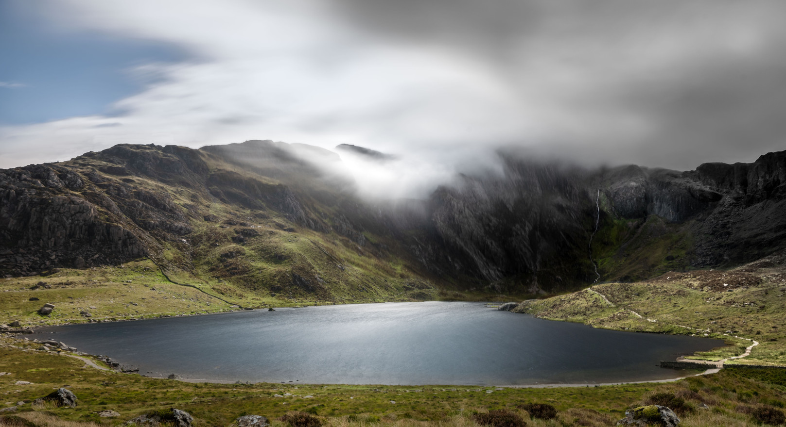 Glyder Fawr clouds over Llyn Idwal