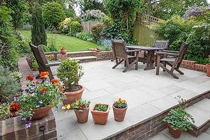Hard landscaping, new luxury stone patio