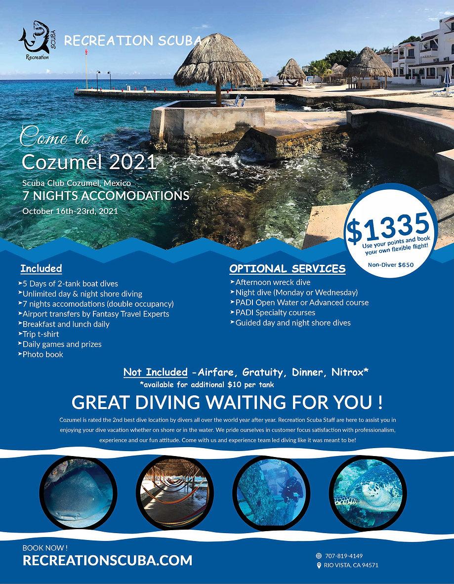 Scuba Club Cozumel Oct 16-23, 2021 Flyer