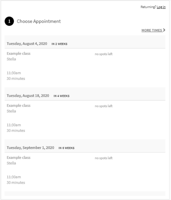 the booking form