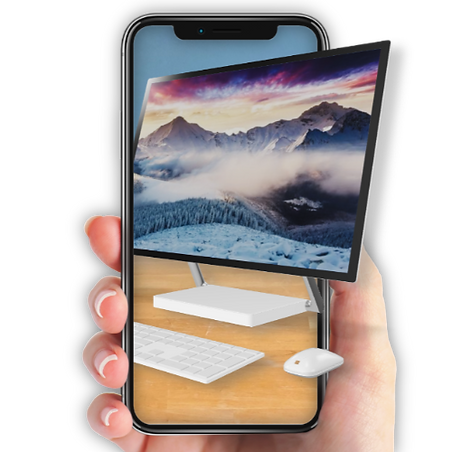 Image of a hand holding a phone looking at an Augmented Reality preview of a desktop PC