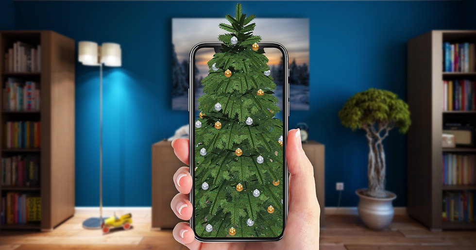 Image of person placing an Augmented Reality virtual Christmas tree in their room