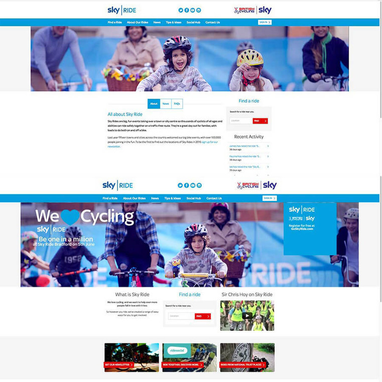 Sky Cycling Home page