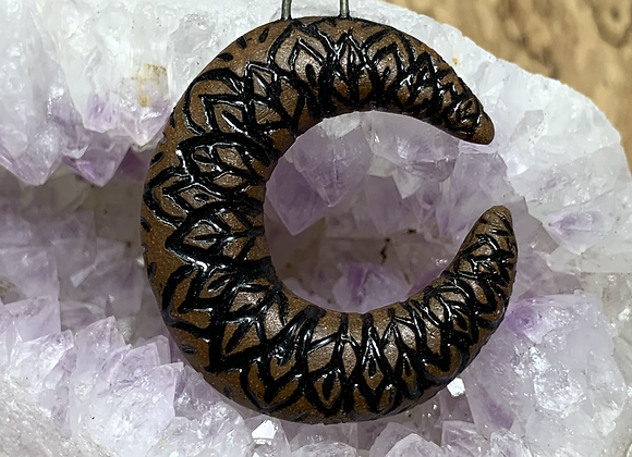 Mandala Carved Crescent Moon