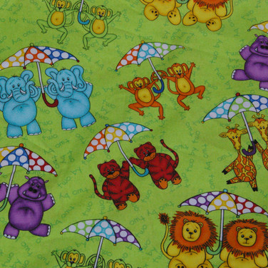 Twin animals with umbrellas