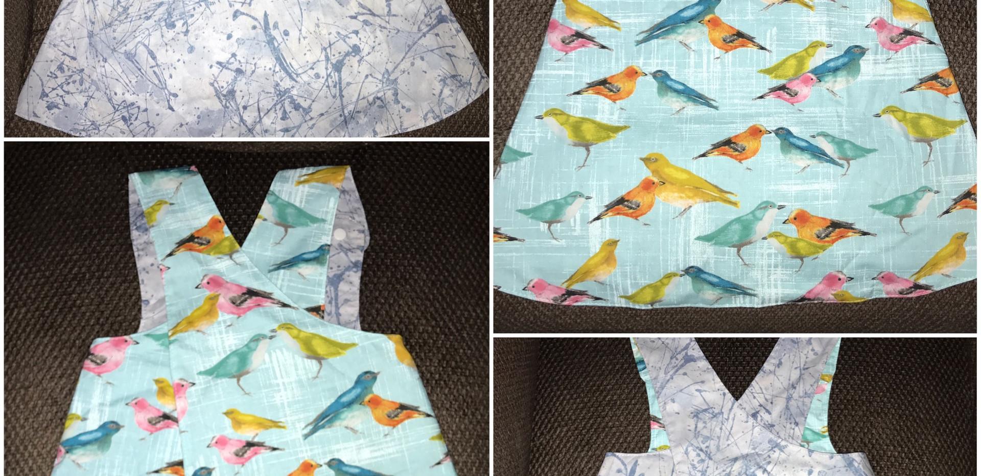 Bird Dress Blue Splatter