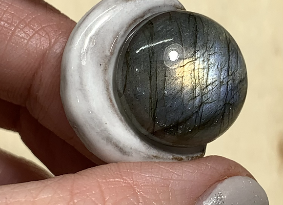 Moon w/ Labradorite soft grey blue