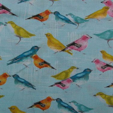 Colourful Birds on blue fabric