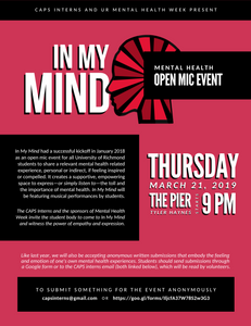 In My Mind: A Mental Health Open Mic at the University of Richmond 2019 Flyer
