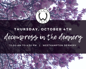 """A WCGA event, """"Decompress in the Deanery"""", in the Westhampton Deanery Living Room from 10:00 AM to 4:30 PM on October 4, 2018 designed to be a relaxing opportunity to chat, hang out, and decompress."""