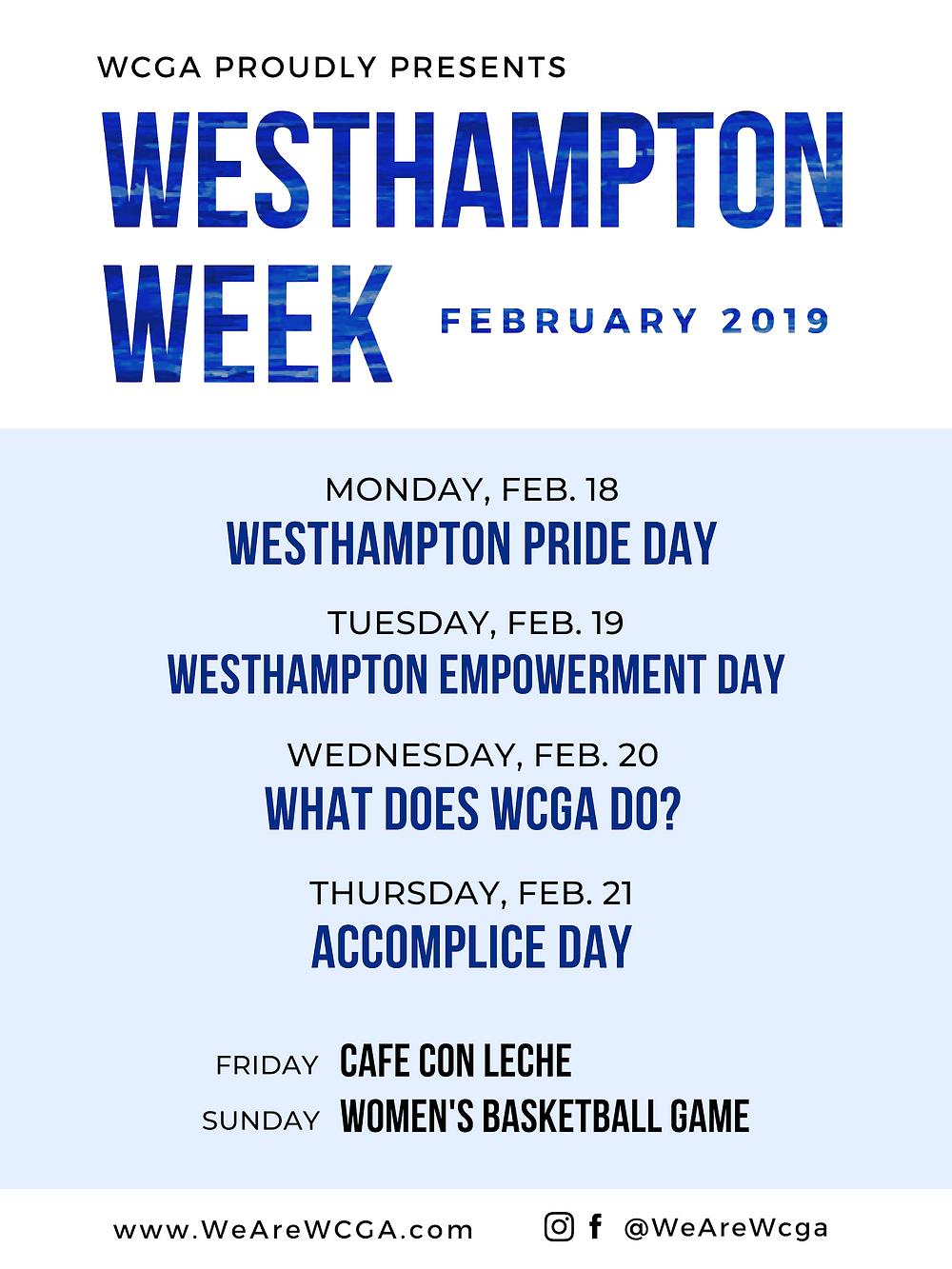 Westhampton Week 2019 Schedule