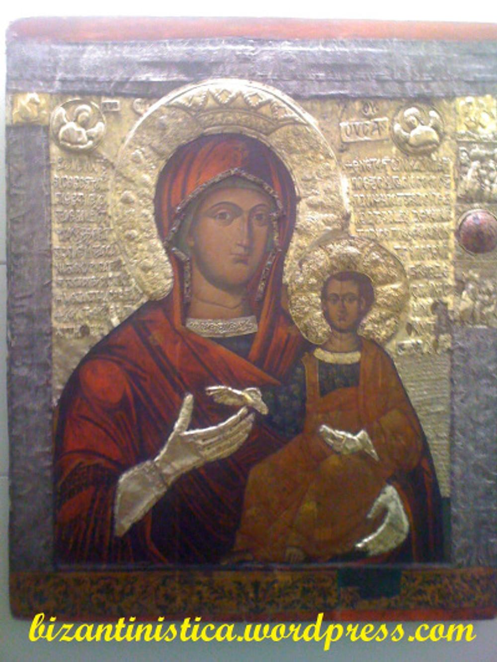 Ícone bizantino altamente decorado da Virgem Portadora de Deus (theotokos). Sec. XIV.