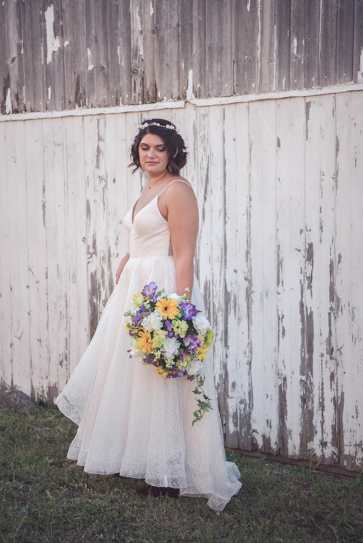 Bride outside Orchard Lane Events
