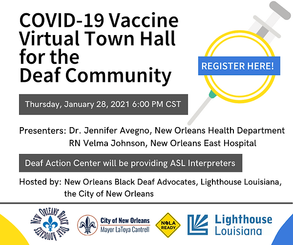 Virtual COVID Vaccine town hall for Deaf