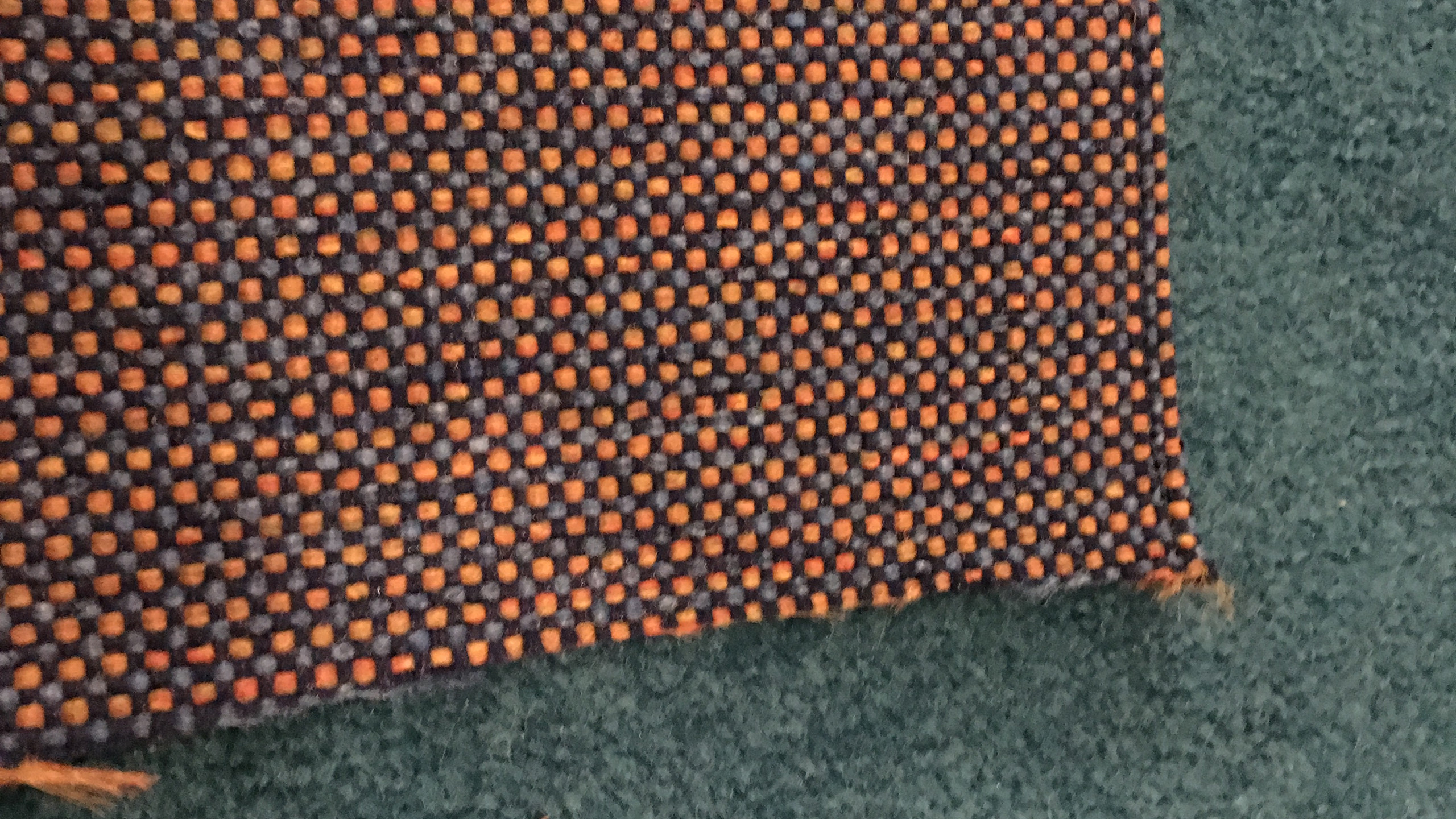 Fabric sample on carpet - close up