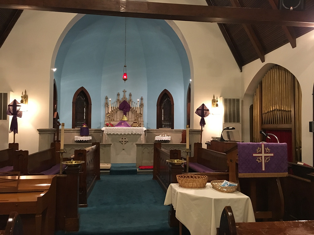 St. John's decorated in purple for Lent